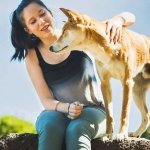 Girl with dingo in dingo encounter at Moonlit Sanctuary Wildlife Conservation Park