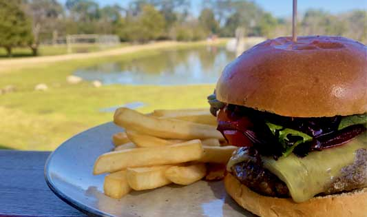 Bush burger lunch option at Moonlit Sanctuary Wildlife Park